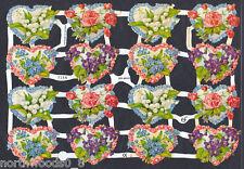 HEART FLORAL VALENTINE ROSES VIOLETS NOSEGAY CARD LOVE PAPER SCRAP EF GERMAN