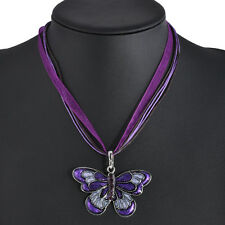 Women Fashion Jewelry Enamel Butterfly Crystal Silver Pendant Necklace Chain Hot