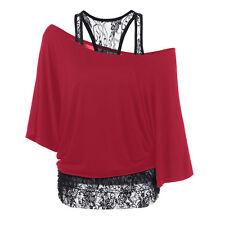 Women Ladies Plus Size Lace Loose Blouse Casual Long Sleeve Tops Blouse T Shirt