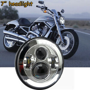 7'' LED 4D Round Hi/Lo Projector Headlight Chrome For Harley Glide Softail FLHX
