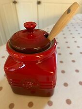 LE CREUSET Berry Jam Jar Pot, Red Cerise with Spatula