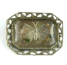 Antique Goofus Glass Pin Victorian Reverse Intaglio Brooch Clear Butterfly