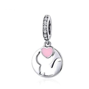 I Love My Cat Pet Heart Dangle Charm Sterling Silver 925 With CZ For Bracelets