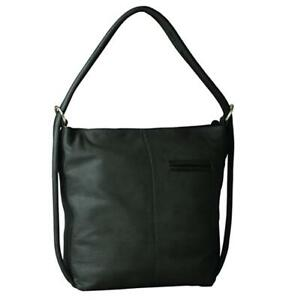 Gabee - Indiana Leather Convertible Handbag/Backpack - Black