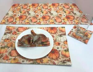 Fall Pumpkin & Leaves Table Runner Placemats Coasters &Cloth Napkins Table Linen