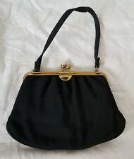 Vintage 1950s Morris Moscowitz Purse Black Cloth Clutch Snap Closure