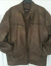 MICHAEL KORS Mens Whiskey Brown Faux Leather Biker Jacket Size Small
