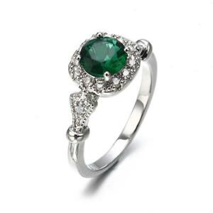 Birthstone Zircon Ring Cubic Zirconia Classic Bague Green Natural Stone YD