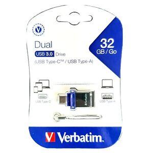 Verbatim 32GB Flash Drive 3.0 USB Type A and Type-C Dual Ports New