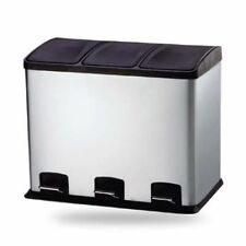 Küchen Edelstahl Abfalleimer | Mülleimer | Treteimer | 3x12 Liter Inneneimer