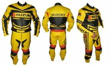 Suzuki GSXR Biker Riding Suit Yellow Cowhide Leather Motorcycle Racer Protective