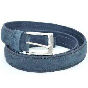 Cintura uomo blu in pelle scamosciata e tela regolabile fibbia in acciaio nickel