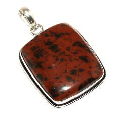"Plated Pendant 1.9"" O-2345 Obsidian 925 Silver"