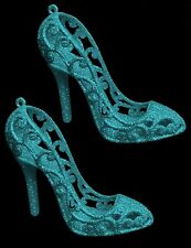 Baby Blue Glitter Shoes - Christmas Tree Decoration - Girly Decorations (DP225)