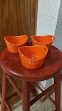 New listing Rachel Ray Set Of 3 Orange Stoneware Ramekin Double Handle 10oz Baking Dishes