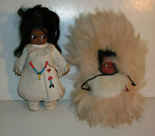 Vintage Hard Plastic Indian Doll with Leather & Beadwork & Eskimo Doll