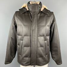 LORO PIANA Size L Brown Quilted Cashmere Lining Zip & Buttons Jacket