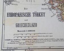 Stahlstich-Landkarte Europaeische Türkei und Griechenland Ravenstein