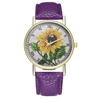 T88 Sunflower Leather Strap Quartz Women's Watch HX