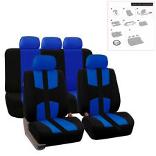 Universal Bird Eye Cloth 5-Seats Car SUV Seat Cover Protector Cushion Black+Blue
