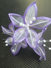 5 Wedding Prom Large Shiny light Lilac Lily Hair Pins Clips Grips Handmade