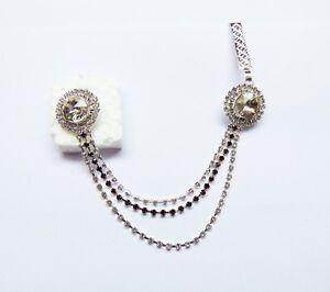 Silver Tone Side Waist Belt Kamar Bandh Hip Chain Sari Pin Brooch Women Jewelry