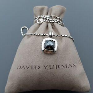"David Yurman Sterling Silver 11mm Hematite Albion Pendant Necklace 17"""