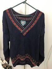 WOOLRICH Sweater Nordic Mens Ski Vintage Size Large V-Neck 100% Cotton