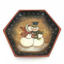 Decorative Plate Hand Painted Snowman Couple on Wooden Hexagon Starburst Border