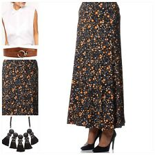 EVANS Womens Long Floral Summer Maxi Skirt Black/Org Stretch NEW Plus Size 18-30