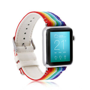 Rainbow Nylon Leather Strap Band for Apple Watch iWatch Series 3, 2, 1 38mm/42mm
