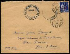 """Lot N°8871 - FM N°9 Obl Cad """"ROUDAN 19/11/43"""" + cachet (Chantier de Jeunesse)"""