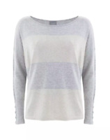 Hygge by Mint Velvet Stripe Boxy Knitted Jumper, Ecru & Latte Cotton Cashmere 10