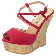 Fucsia Peep Toe Sandalias de Cuña con Plataforma Taco Alto Zapatos Con Tiras Charol Fiesta