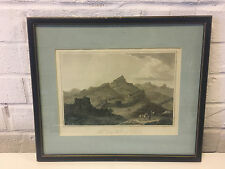 Antique Hand Colored Engraving Print George Cook The Great Wall of China