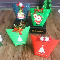 2/5/10X Christmas Paper Gift Candy Bag Carrier Xmas Present Cookies Boxes