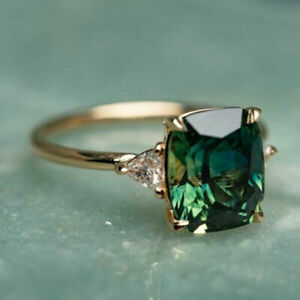 Elegant Women Wedding Ring 925 Silver Jewelry Oval Cut Emerald Size 6-10