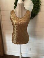 New York & Company Women's Gold Sequined Sleeveless Tank Top Size XS (B2)
