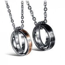 18K Gold GP Vintage Ring Pendant Couple Necklace Black/Bronze