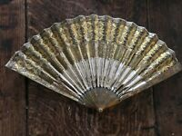 Antique 18th / 19th century fan - blonde tortoiseshell, metal inlay and sequins