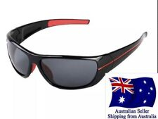 Sunglasses Men's Wrap-around Black Red Biker Fishing Polarized UV400 Aus Seller