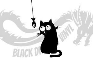 Cat Watching Fish Inspired Design Animal Decor Wall Art Decal Vinyl Sticker