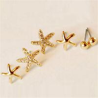 3pairs/bag Bright Starfish Shaped Earrings For Women Ear Stud Earings Jewelry LJ