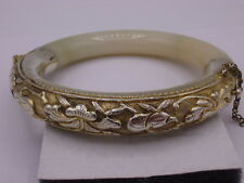 Antique Chinese Export Sterling Silver Repousse Jadeite Jade Bangle Bracelet #