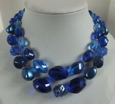 Western Germany  Vintage Blue Plastic beaded NECKLACE estate Jewelry LOOK!!