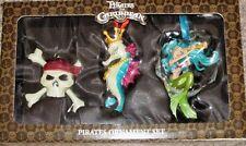 Disney Pirates of the Caribbean Ornament Set of 3 Skull, Mermaid, Seahorse NEW