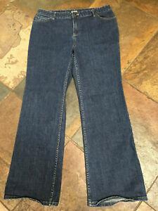 """J Jill 14 x 30"""" Low/Mid Rise Stretch Dark Denim Boot Cut Jeans EUC B"""