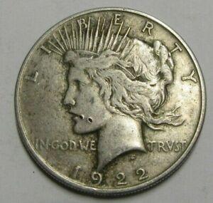 USA Silver 1922 Peace Dollar, Grade As Pics.