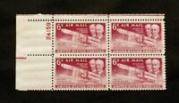 US Plate Blocks Stamps #C45 ~ 1949 WRIGHT BROTHERS AIRMAIL 6c Plate Block MNH