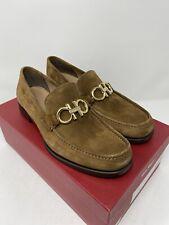 Salvatore Ferragamo Rolo Reversible Gancini Bit Suede Loafers Size 9.5 E Brown